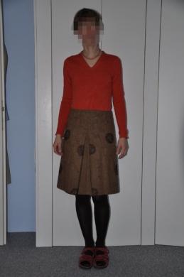Kellerfaltenrock, orange pulli
